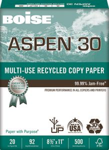 Aspen® 30% Multi-Use Recycled Copy Paper - 3 Hole Drilled