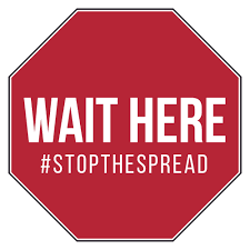 "COVID Floor Graphic "" WAIT HERE #STOPTHE SPREAD"" PRESSURE SENSITIVE FLOOR GRAPHIC"