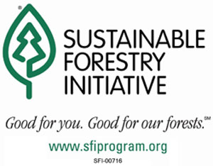 Sustainable Forestry Initiative. Good for you. Good for our forests. Visit www.sfiprogram.org